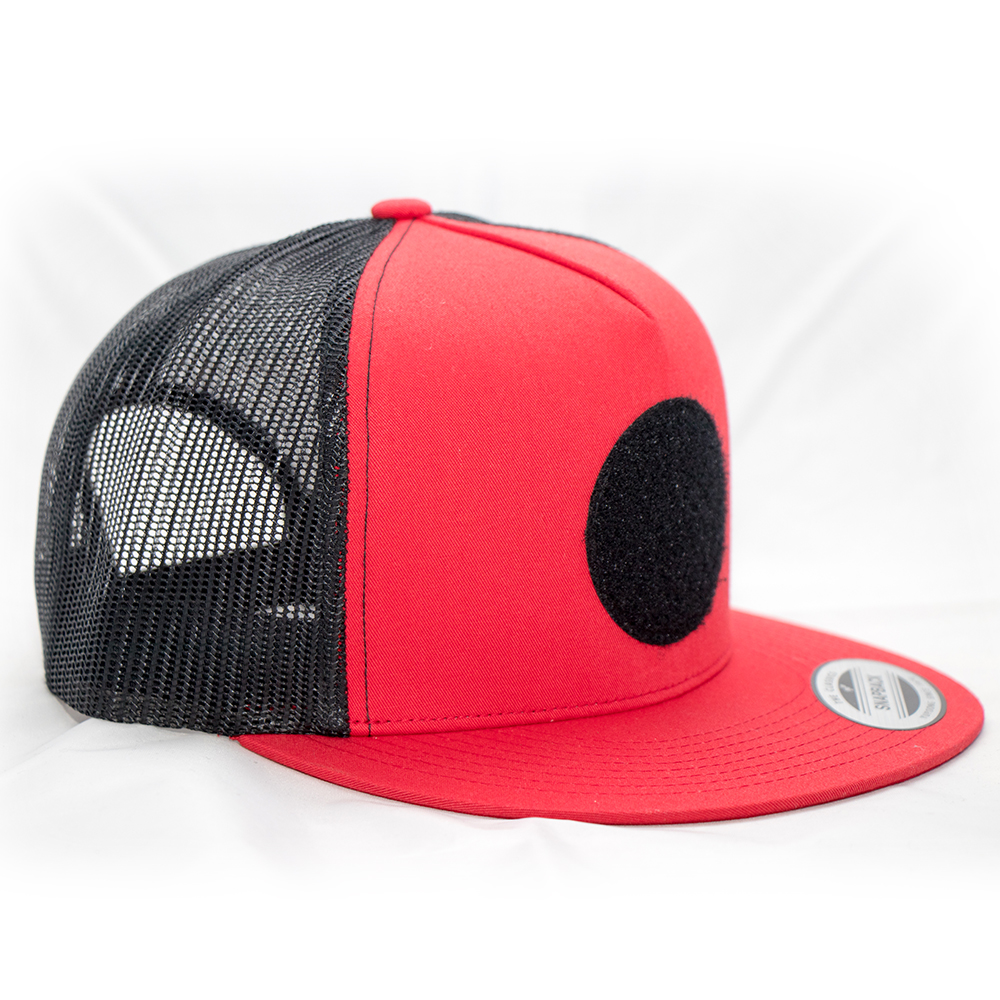 Snapback Black Red Trucker Hat (w  Velcro Patch)  7f5a103e1c9