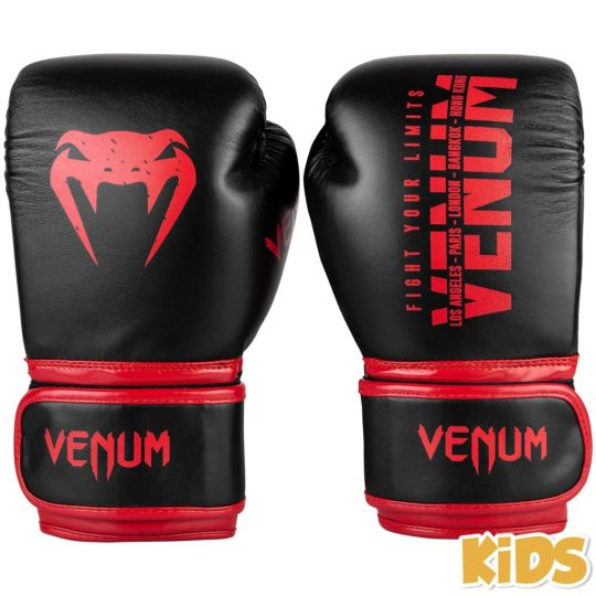 Black/Red Venum brand boxing gloves for kids