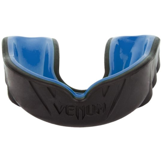 Front view of Venum brand black/blue mouthguard